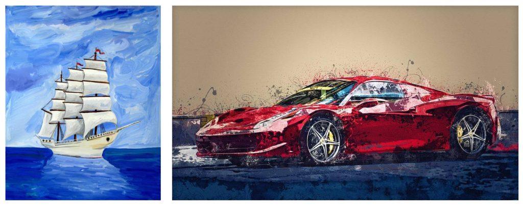Statek i samochód Ferrari są dobrymi obrazami by zawiesić je w gabinecie. Kolorystycznie statek bardziej pasuje do strefy kariery, ma chłodniejsze kolory i jest bardziej yin. Samochód w czerwonych barwach świetnie nadaje się do strefy sławy i jest bardziej yang.